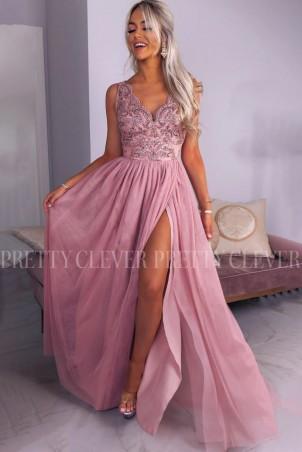 Ekskluzywna tiulowa sukienka maxi Aleksja - pudrowy róż