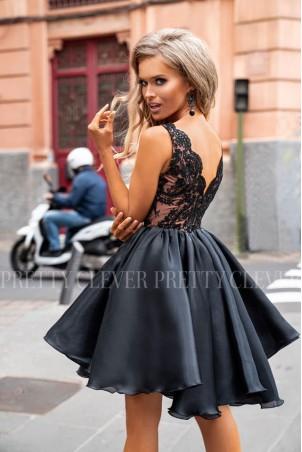 Ekskluzywna sukienka z koronkowym gorsetem Despina - czarna z beżem