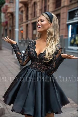 Ekskluzywna sukienka z koronkowym gorsetem Renée - czarna z beżem