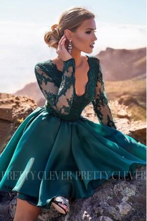 Ekskluzywna sukienka z koronkowym gorsetem Renée - butelkowa zieleń