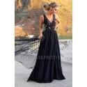 Tiulowa sukienka maxi z dwoma rozporkami Alison - czarna