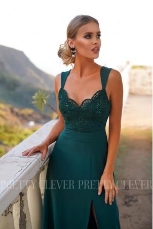 Sukienka syrenka z koronkową górą Edith - butelkowa zieleń