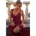 Sukienka syrenka z koronkową górą Edith - bordowa