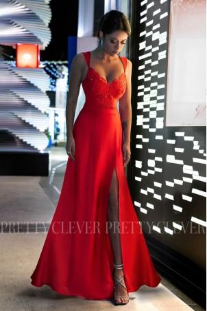 Sukienka syrenka z koronkową górą Edith - czerwona