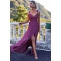 Sukienka syrenka z koronkową górą Edith - jagodowa