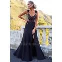Sukienka syrenka z koronkową górą Edith - czarna z beżem