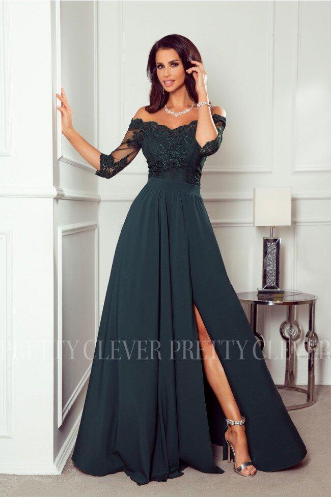 Długa sukienka z koronką Nathalie butelkowa zieleń