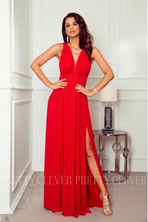 Długa sukienka brokatowa Salma - czerwona