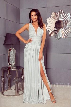 Długa sukienka brokatowa Salma - srebrna