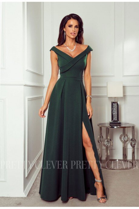Długa sukienka z efektowym dekoltem Viki - butelkowa zieleń