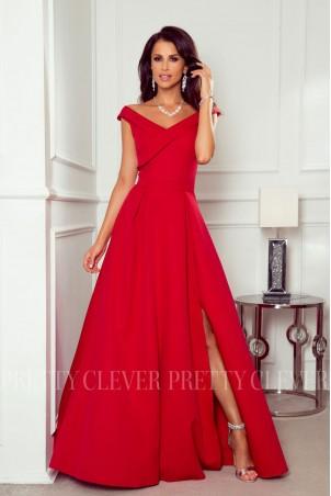 Długa sukienka z efektowym dekoltem Viki - czerwona