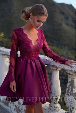 Ekskluzywna sukienka z koronkowym gorsetem Renée - bordowa
