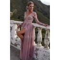 Ekskluzywna tiulowa sukienka maxi Sophie - antyczny róż