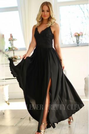 Długa sukienka na cienkich ramiączkach Sally - czarna