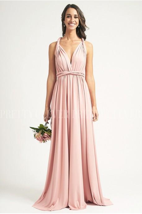 Długa sukienka wiązana na wiele sposobów Infinity - pudrowa