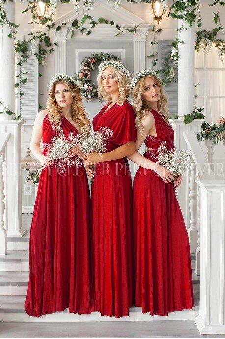 Długa sukienka wiązana na wiele sposobów Infinity - czerwona