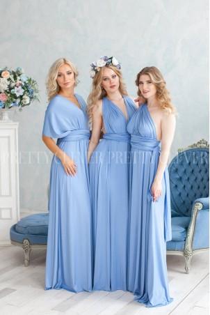Długa sukienka wiązana na wiele sposobów Infinity - błękitna