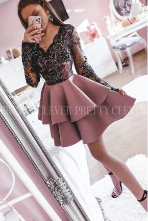 Koronkowa sukienka z piankową spódnicą na wesele Iris - brudny róż