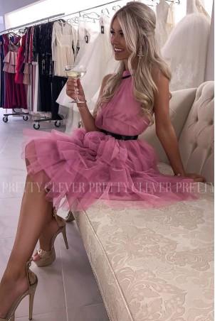 Tiulowa sukienka bez pleców Nicole Midi - różowa