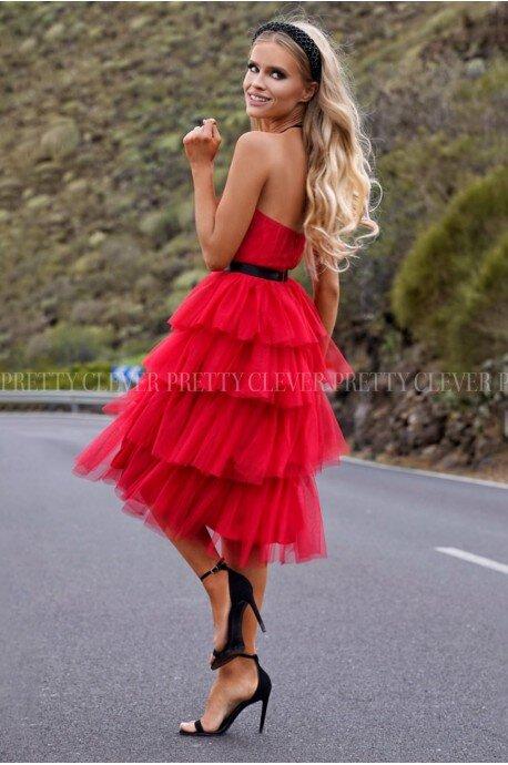 Tiulowa sukienka bez pleców Nicole Midi - czerwona