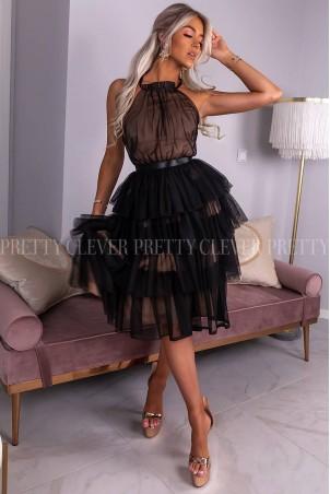 Tiulowa sukienka bez pleców Nicole Midi - czarna z beżem