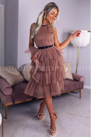 Tiulowa sukienka bez pleców Nicole Midi - cappuccino