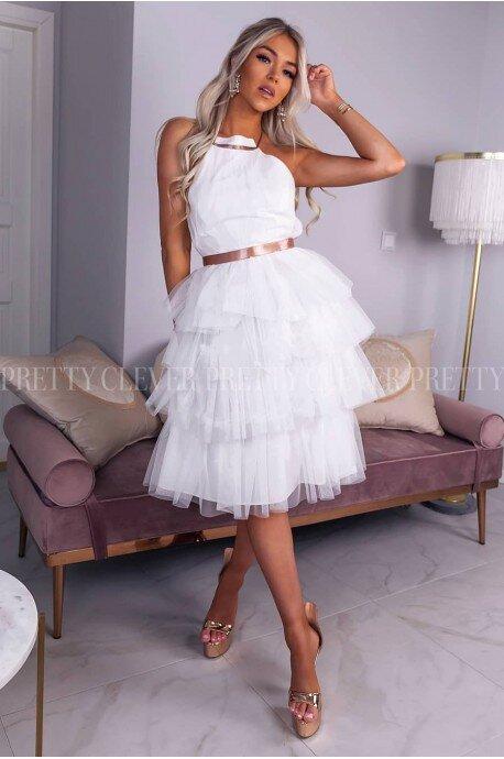 Tiulowa sukienka bez pleców Nicole Midi - ecru