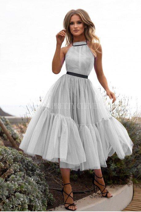 Tiulowa sukienka bez pleców Clare - szara