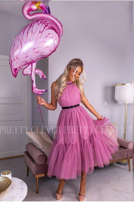 Tiulowa sukienka bez pleców Clare - różowa