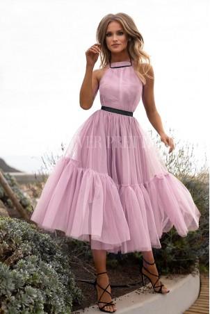 Tiulowa sukienka bez pleców Clare - pudrowy róż