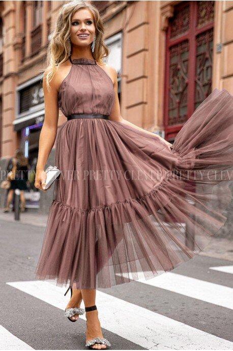 Tiulowa sukienka bez pleców Clare - cappuccino