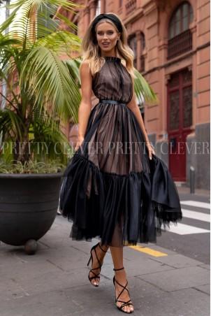 Tiulowa sukienka bez pleców Clare - czarna z beżem