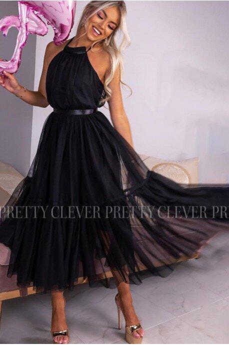 Tiulowa sukienka bez pleców Clare - czarna