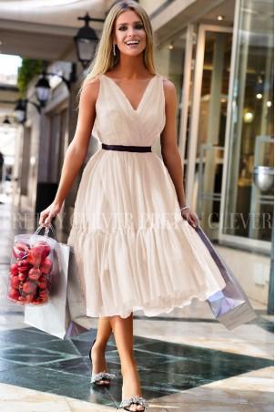Tiulowa sukienka midi Marion - ecru