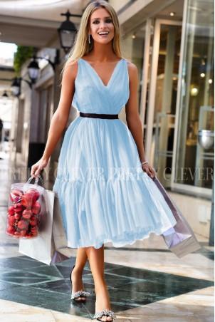 Tiulowa sukienka midi Marion - błękitna