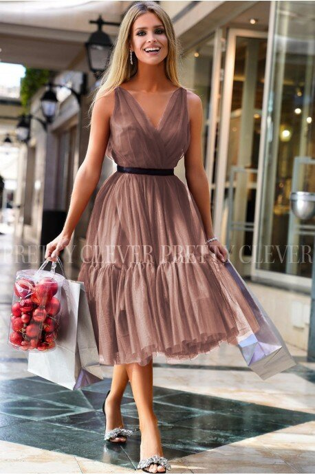 Tiulowa sukienka midi Marion - cappuccino