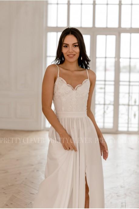 Hellen Sukienka Biała Koronkowa Długa na Ramiączkach