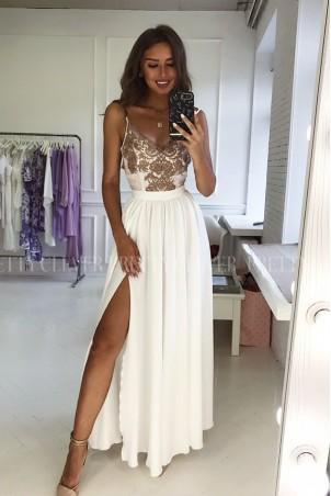Długa sukienka na cienkich ramiączkach Sally - biała z koronką cappuccino