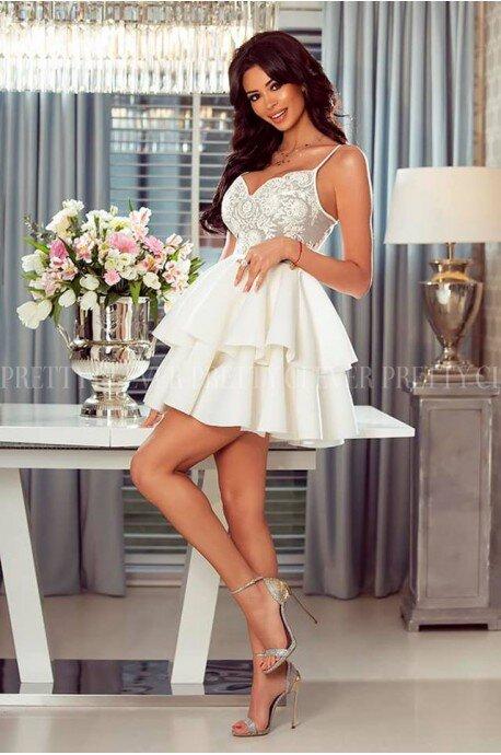 Koronkowa sukienka z piankową spódnicą Janet - biało-szara
