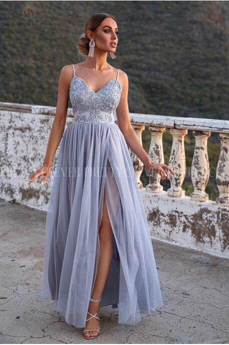 Długa sukienka na wesele Daphne - szara