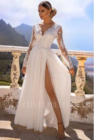 Ekskluzywna tiulowa sukienka maxi Sophie - biała
