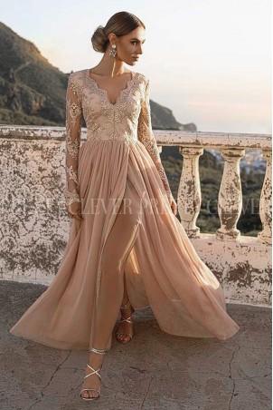 Ekskluzywna tiulowa sukienka maxi Sophie - beżowa