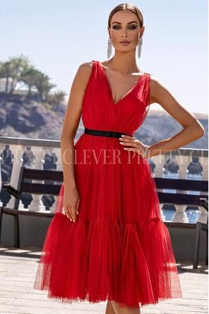 Tiulowa sukienka midi Marion - czerwona