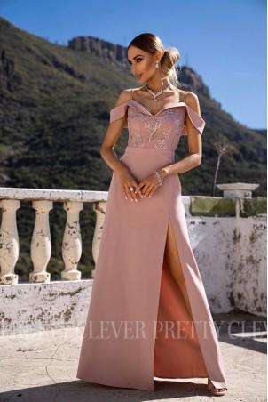 Długa sukienka wieczorowa Nadine - pudrowy róż