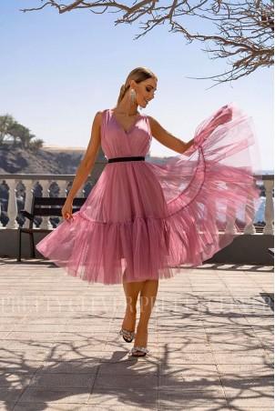 Tiulowa sukienka midi Marion - różowa