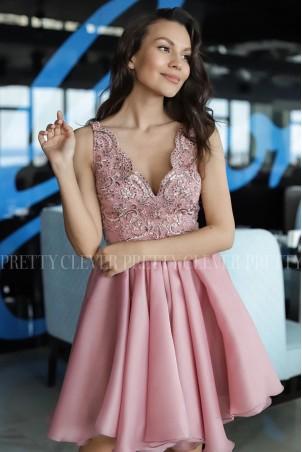 Ekskluzywna sukienka z koronkowym gorsetem Despina - pudrowy róż