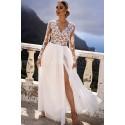 Ekskluzywna tiulowa sukienka maxi Sophie - biała z beżem