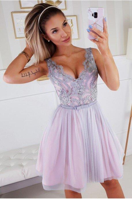 Koronkowa sukienka z tiulowym dołem Bianka - różowo-szara