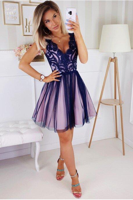 Koronkowa sukienka z tiulowym dołem Bianka - różowo-granatowa