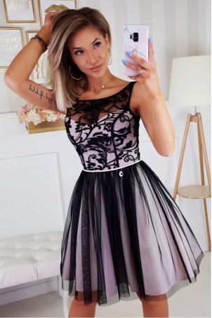 Koronkowa sukienka z tiulowym dołem Gracja - beżowo- czarna